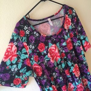 LuLaRoe 3X Perfect T Floral Rose Tee Shirt